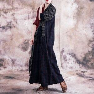 Image 3 - Johnature 빈티지 2019 가을 여성 의류 새로운 v 목 긴 소매 플러스 사이즈 드레스 기하학 포켓 긴 여성 격자 무늬 드레스