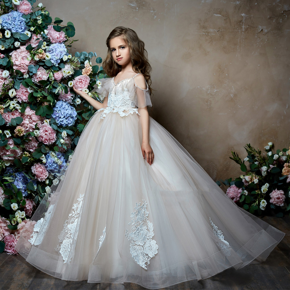 Backless 2019   Flower     Girl     Dresses   For Weddings Ball Gown Spaghetti Straps Tulle Lace Long First Communion   Dresses   Little   Girl