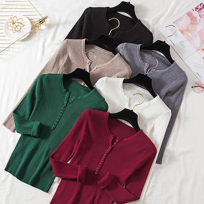 Women Pullover Sweater 2019 V Neck Single Breasted Slim Soft Knit Winter Tops Women Knitted Sweater Knitwear Jumper Sweaters