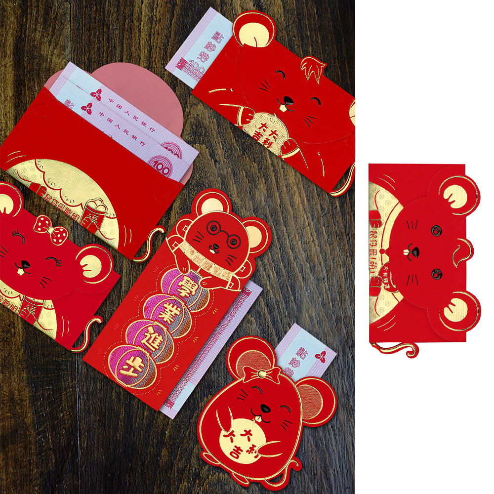6Pcs Chinese New Year Red Money Envelope Year Of The Rat 2020 Cartoon Packet For Wedding Party Gift  Luckly Money Package