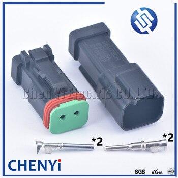 1 juego negro 2 pines macho hembra deutdeutsch DT serie mejorado sello impermeable cable eléctrico auto conector DT06-2S DT04-2P