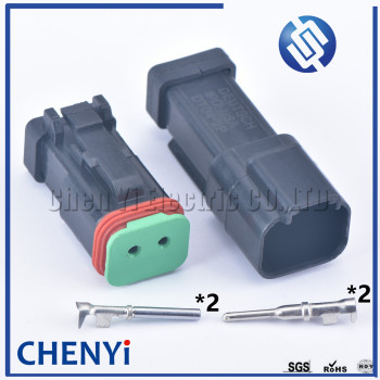 1set black 2 pin Male Female Amphenol Deutsch DT Series Enhanced Seal Waterproof Electrical Wire auto connector DT06-2S DT04-2P image