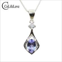 Simple tanzanite pendant with necklace for woman 0.5 ct natural VVS grade tanzanite pendant solid 925 silver tanzanite jewelry