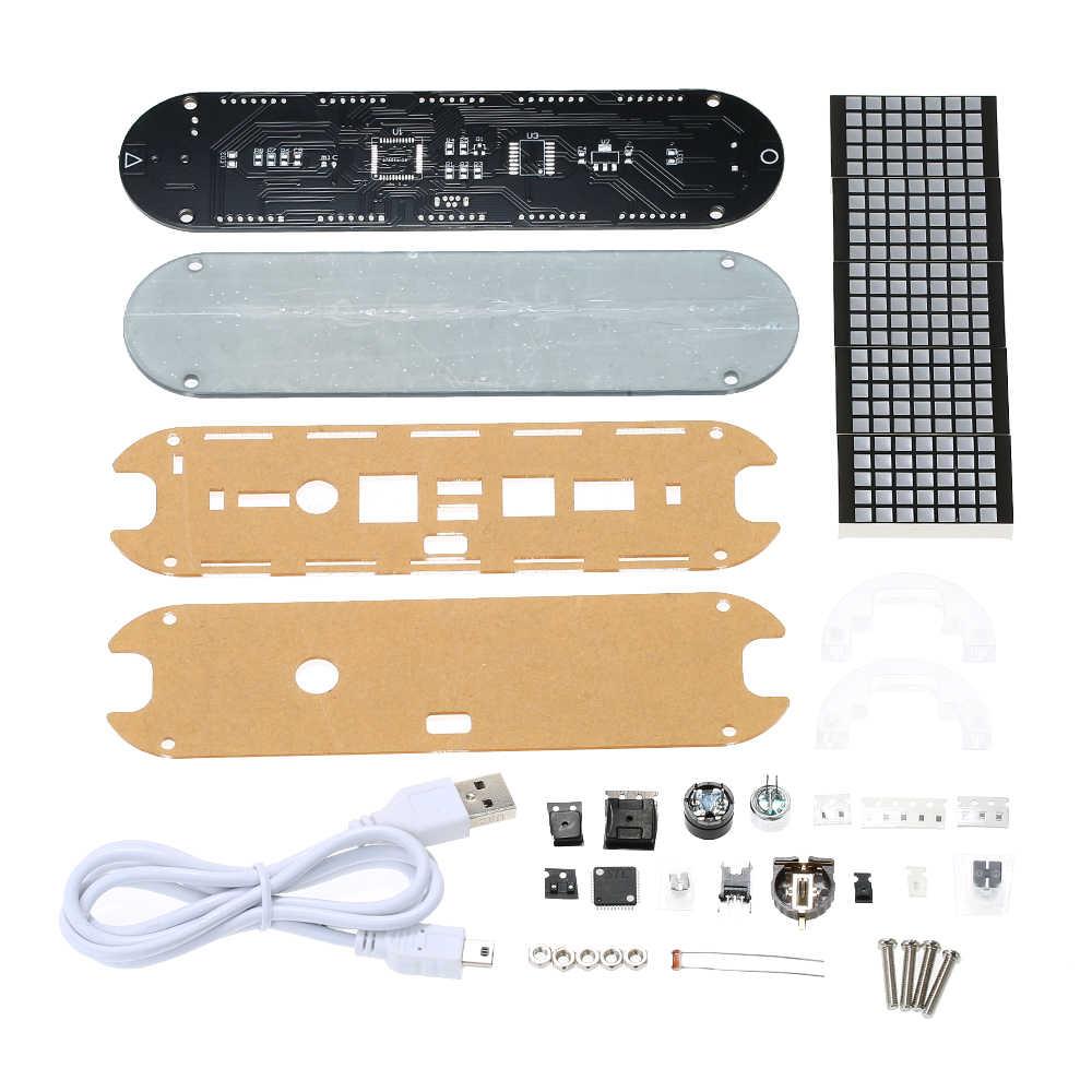 Commande vocale LED minuterie réveil Kit avec température Date semaine heure affichage numérique Dot Matrix compte à rebours pour cuisine jeu