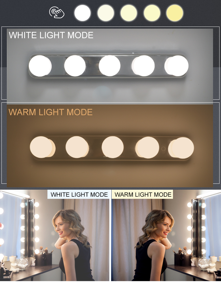 Color Temperature Adjustable Portable 5 LED Bulbs Vanity Mirror Lights Hollywood make up light USB or