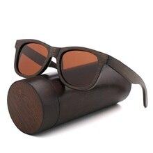 Gafas de sol de madera Vintage para hombre y mujer, anteojos de sol de madera de Color marrón y bambú, polarizadas, cuadradas