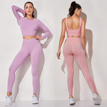 Conjunto de yoga roupas de ginástica das mulheres do esporte do verão terno de fitness sem costura outfit duas peças cintura alta leggings manga longa conjuntos