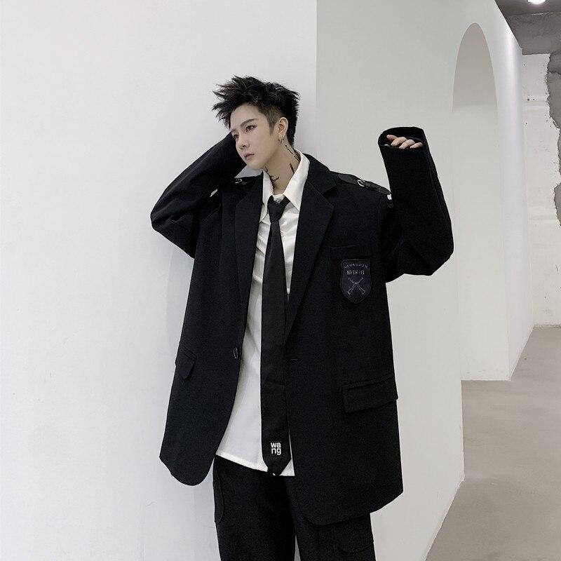 Men Japan Harajuku Street College Style Casual Suit Blazer Jacket Overcoat Spring Autumn Male Suit Coat Outerwear