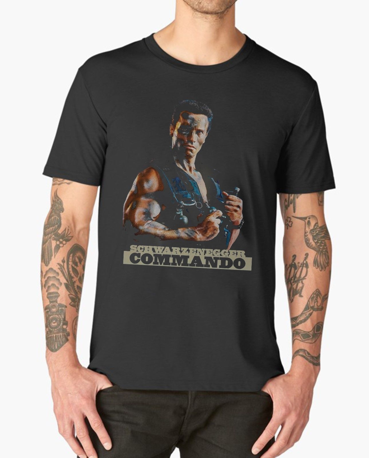 COMMANDO T SHIRT ARNOLD SCHWARZENEGGER <font><b>CULT</b></font> MOVIE FILM Cool Casual pride t shirt men Unisex New Fashion <font><b>tshirt</b></font> Loose image