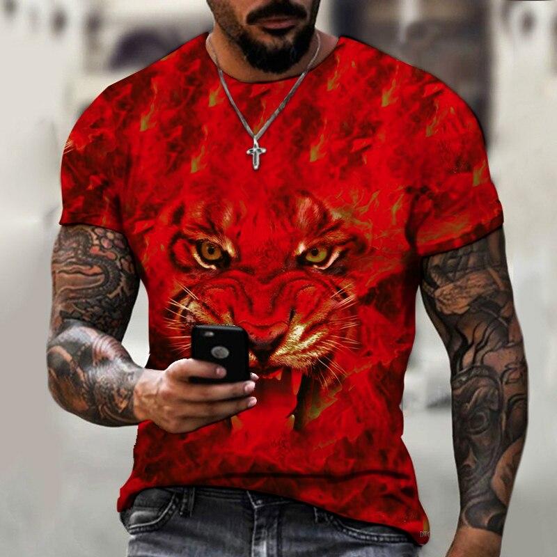 Sonspee Camouflage Animal Hunting Lion Tiger 3d T-shirt Summer Casual Men's T-shirt Fashion Street Wear Hip-hop Short Sleeve