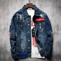 2019 Autumn Youth Jeans Jacket Men Casual Holes Turn down Collar Korean Slim Jacket Cowboy Hip Hop Streetwear Denim Jacket