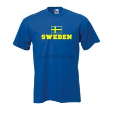 Camiseta schweden (suécia) camisa de bandeira herren fanshirt mit flagge (WMS02-55a)