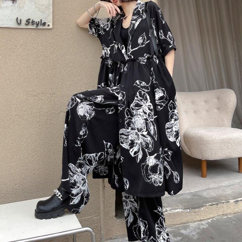 XUXI Women Streetwear Suit Fashion Printing Short Sleeve Top Wide Leg Pants Two-piece Suit Summer 2021 E2076