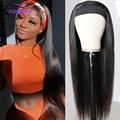 Клюквы волосы прямые парики из натуральных волос на кружевной основе с головной повязкой, шарф, несекущиеся бразильские лента для волос пар...