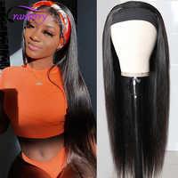 Pelucas de cabello humano liso de arándano con diadema, pañuelo, pelucas de diadema brasileñas Remy para mujeres negras, amigables con principiantes