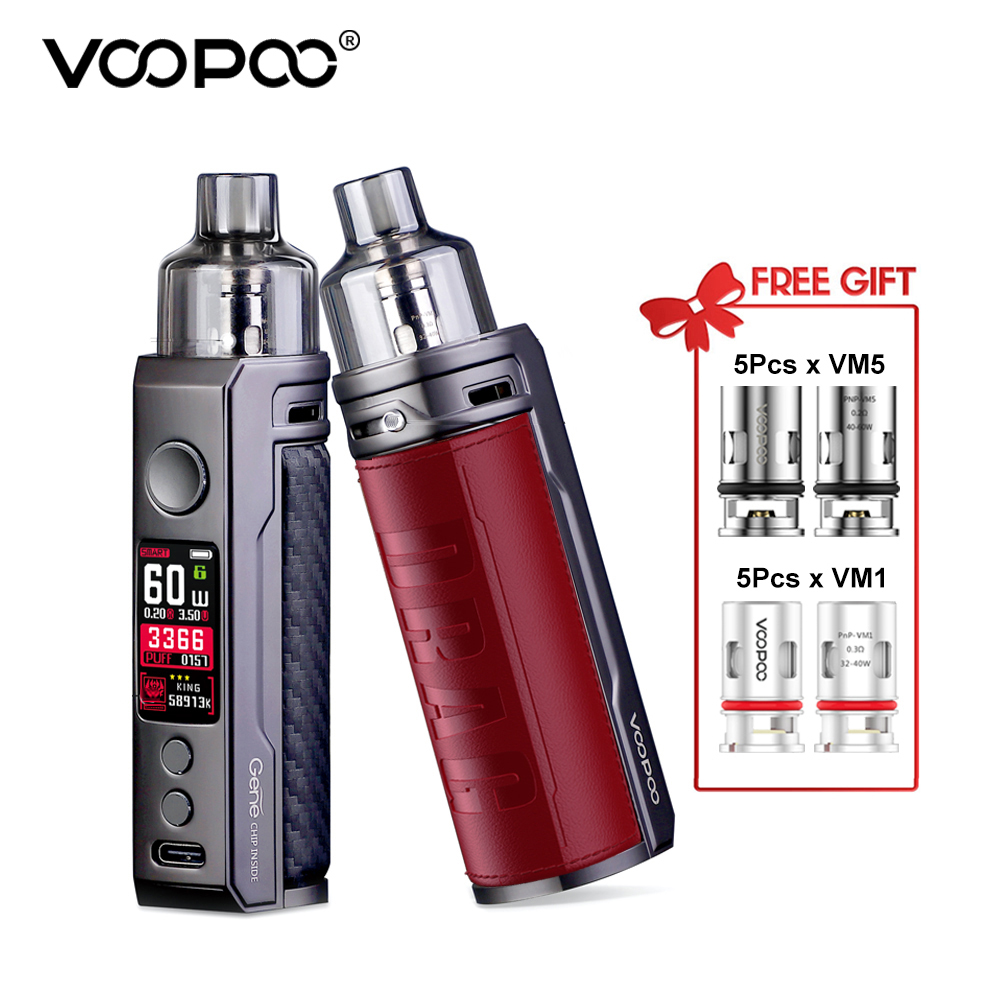 Original VOOPOO DRAG S Pod Mods Kit 2500mAh Built-In Battery 60W Output 4.5ml Drag S Pod Mod Vaper W/ GENE.TT Chip VM5 VM1 Coils