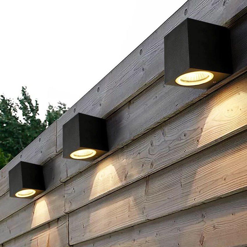 Lámpara LED de pared de aluminio de 3 W/6 W, aplique cuadrado de pared para porche, luz de pared impermeable para exteriores, luces de jardín, luces de pared modernas BL22