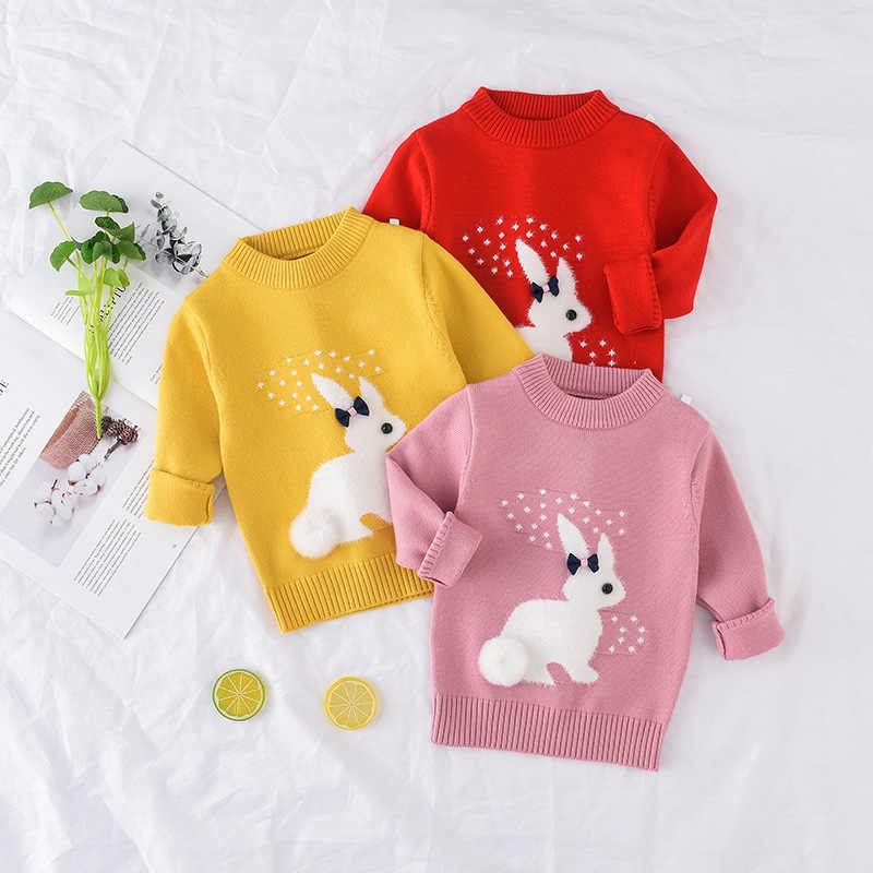 ใหม่มาถึงผู้หญิงเสื้อเด็กเสื้อผ้ากระต่ายรูปแบบถักเสื้อกันหนาวเด็กเสื้อกันหนาวเสื้อถัก 1-5T เด็ก