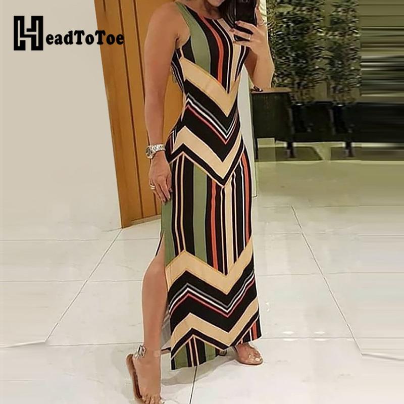 Colorful Striped Print Side Slit Maxi Dress Women Colorblock Sleeveless Slim Long Dresses