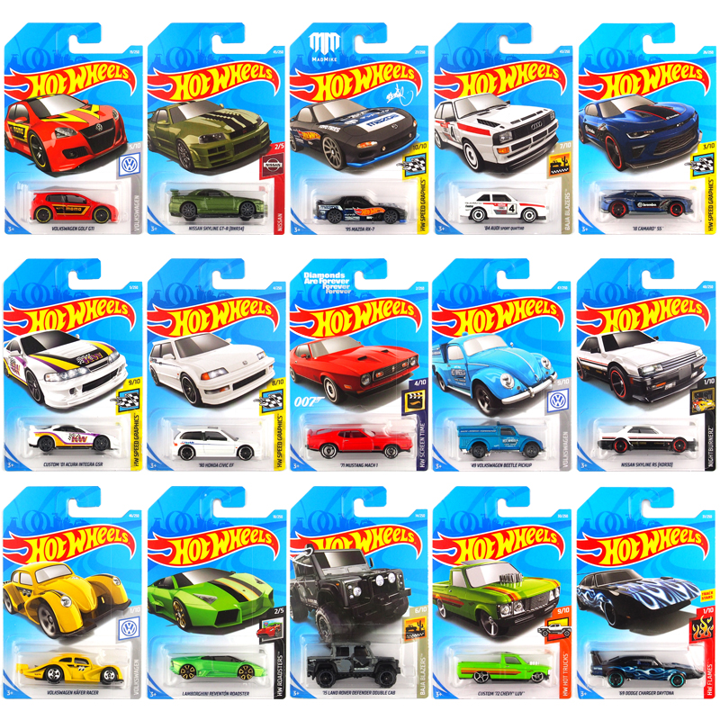 1-72 Pcs Original 1:64 Hotwheels Children Simulation Metal Mini Racing Kids Taxiing Alloy Car Model Toy Car Set Oyuncak Boy Gift