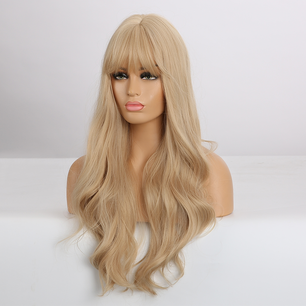 Image 3 - EASIHAIR Long Blonde Wavy Synthetic Wigs for Women Wigs with Bangs High Density Natural Cosplay Wigs Brown Ombre Heat ResistantSynthetic None-Lace  Wigs   -
