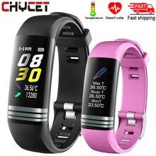 2020 Fitness Bracelet Body Thermometer Smart Bracelet Fitness Tracker Smart Watch Heart Rate Monitor Smart Band Watch Men Women