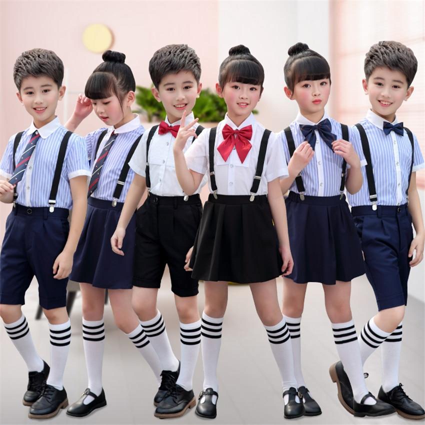 17Style Children Japanese Fashion School Uniform For Girls Summer Choir Host Rompers Stage Performance Kids Clothing 100-160CM