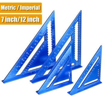 Angle Ruler 7/12 inch Metric Aluminum Alloy Triangular Measuring Ruler Woodwork Speed Square Triangle Angle Protractor