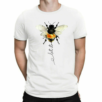 Hippie Bee Let It Be Funny T Shirt Men'S Cotton White Sport Grey Tee Shirts Top Outfit Tee Shirt