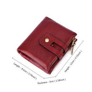Image 2 - 100% gerçek hakiki deri cüzdan Vintage erkekler kadınlar küçük Trifoldl cüzdan bayanlar para çantası kısa çantalar sikke cep Vallet kırmızı