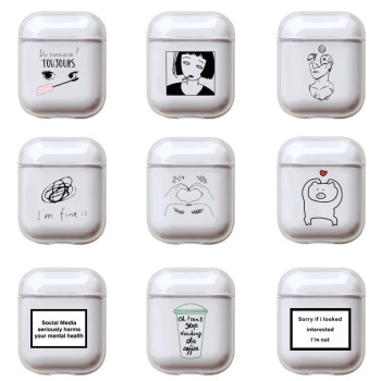 Cute Transparent Hard Case For Apple Airpods Funny Cartoon Painting Earphone Cover Airpod Pro/2/1 Headphone Box