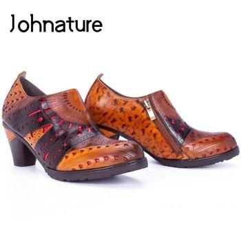 Johnature Women Shoes Pumps 2020 New Spring High Heels Genuine Leather Round Toe Zip Retro Sewing Handmade Platform Ladies Shoes