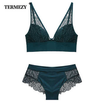 TERMEZY 2019 New Women Fashion Sexy Lace lingerie Wireless Bras For Women Push Up bra set Jacquard Sexy Underwear - DISCOUNT ITEM  30% OFF All Category