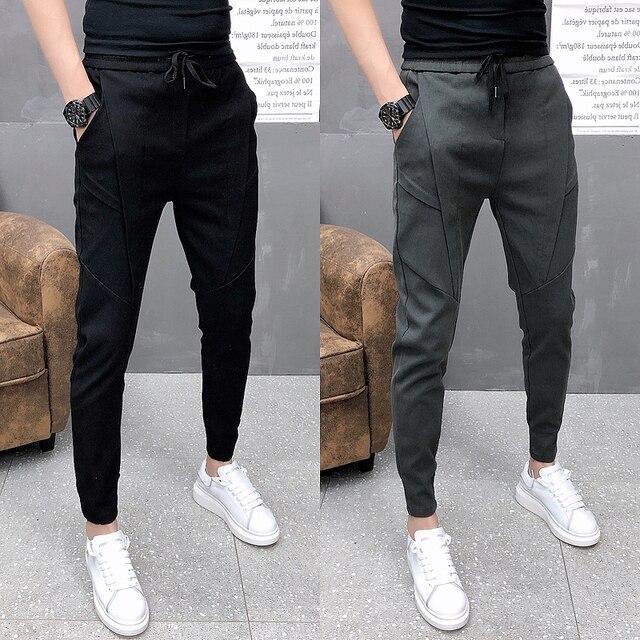 Fashion Korean Solid Joggers Men High Quality Autumn Winter Thick Pants Men Slim Fit Drawstring Mens Casual Pants Black/Gray 36 5