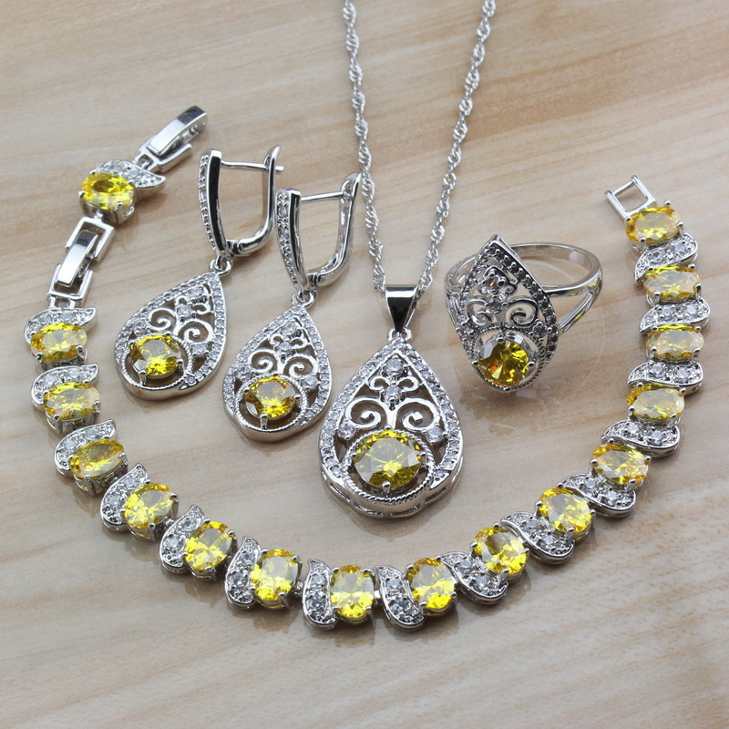 Jewelry-Sets Party-Costume-Sets 925-Sterling-Silver Water-Drop Yellow Cubic-Zirconia