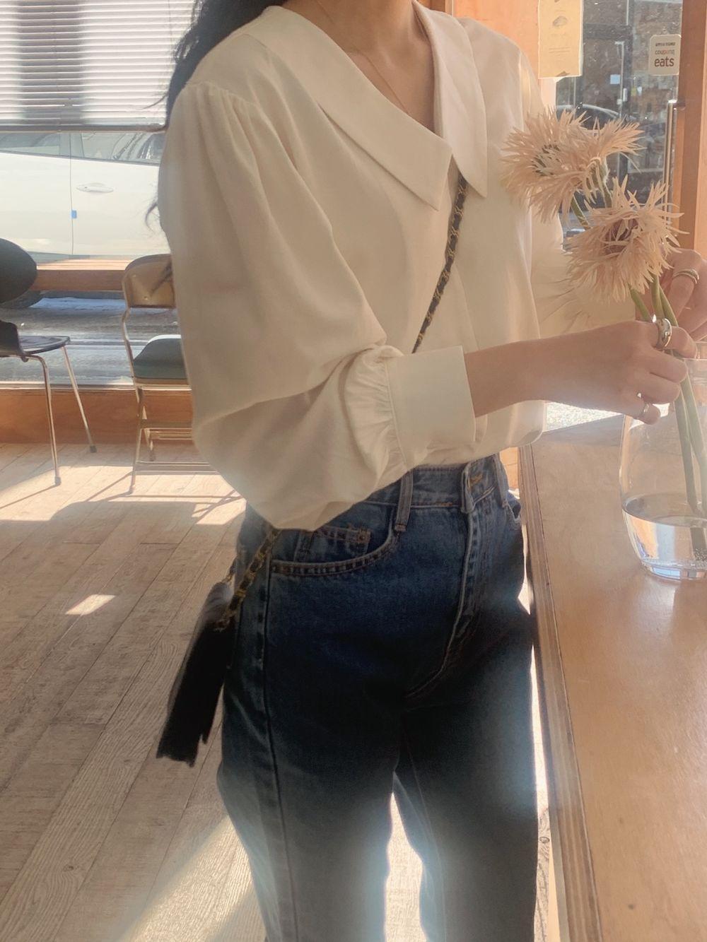 H8341b3e71c20410fb41d438a03b386766 - Spring / Autumn Chelsea Collar Long Sleeves Solid Blouse