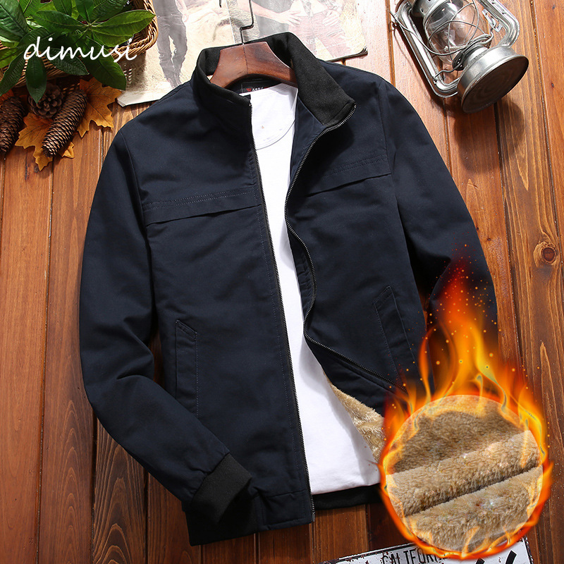 DIMUSI Winter Mens Bomber Jackets Casual Male Stand Collar Fleece Warm Windbreaker Jackets Men Army Military Coats Clothing 4XL