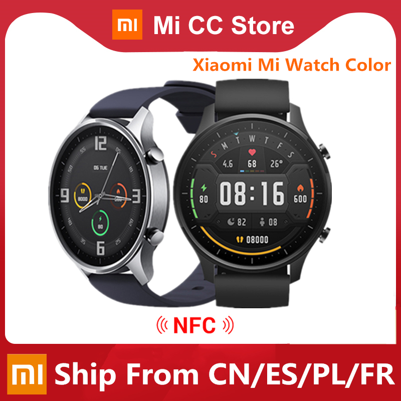 Original Xiaomi Smart Watch Color NFC 1 39   AMOLED GPS Fitness Tracker 5ATM Waterproof Sport Heart Rate Monitor Mi Watch Color