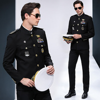 International Seafarer Uniform Captain Suits Hat + Jacket + Pants Stand Collar Security Clothing Cruise Protocol Banquet Costume