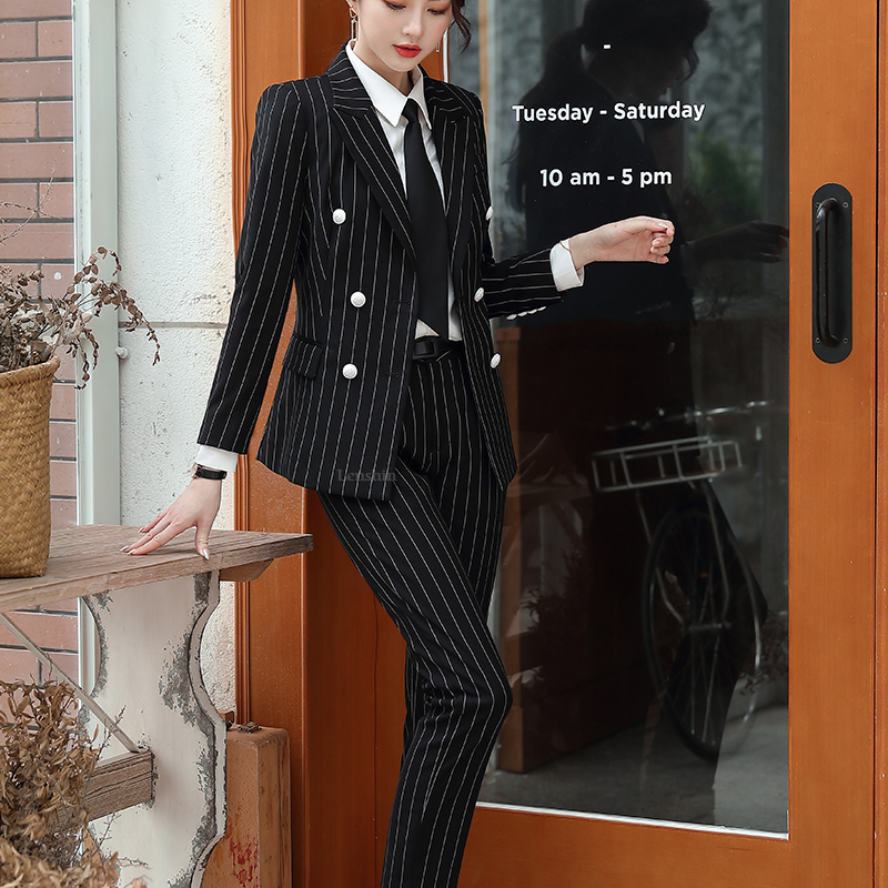 Lenshin High Quality 2 Piece Set Striped Formal Pant Suit Soft and Comfortable Blazer Office Lady Uniform Designs Women Business 25