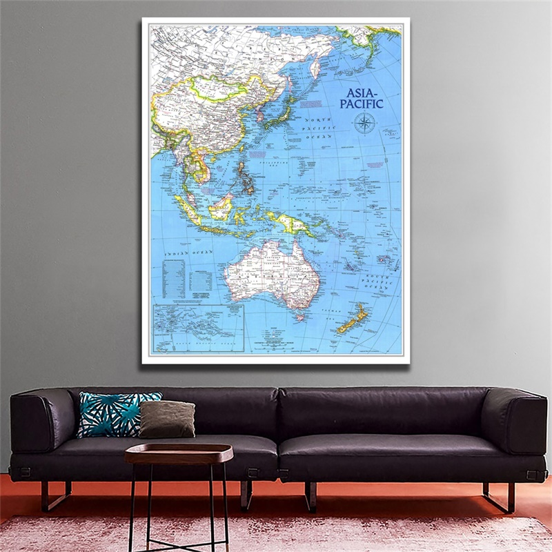 100x150cm World Map Poster Non-woven Spray Painting Map Of Asia Pacific Supplement In November 1989 For Living Room Wall Decor