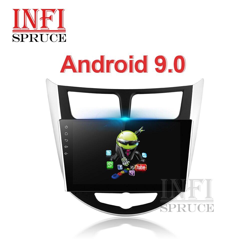 Infispruce Android 9.0 Mobil Dvd untuk Hyundai Solaris 1 2010-2016 Verna Bisa Mobil Headunit Radio Player Gps Navigasi