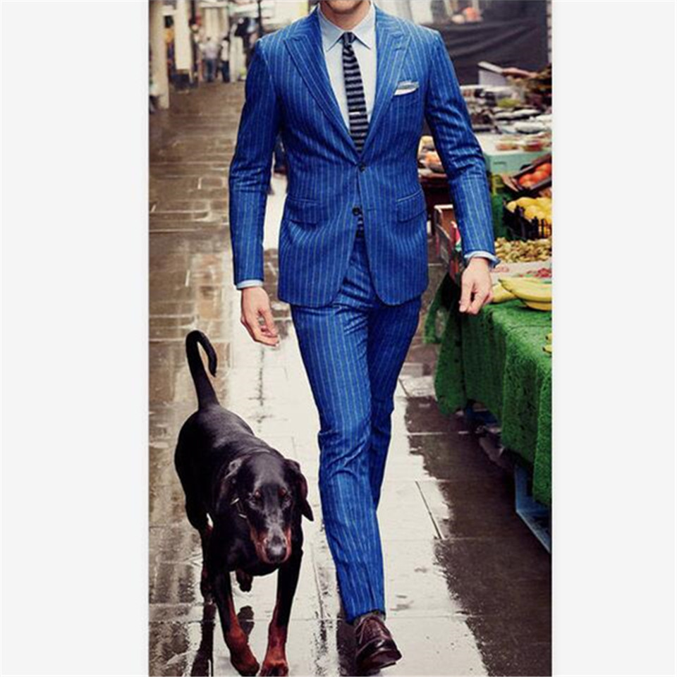 New Men's Suit Smolking Noivo Terno Slim Fit Easculino Evening Suits For Men Chalk Stripe Costume Royal Blue Peak Lapel Male Bla