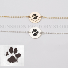 Pulseira real da cópia do nariz da pata do gato do cão, joias personalizadas do animal de estimação, perda memorial gravada, adoção do amante do animal de estimação, pulseira da cópia do gato do cão