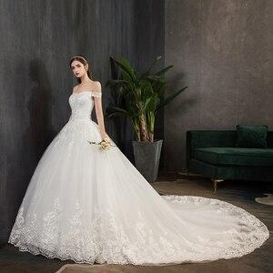 Image 3 - Nova chegada doce elegante princesa luxo rendas vestido de casamento 100 cm barco pescoço apliques celebridade vestido de baile