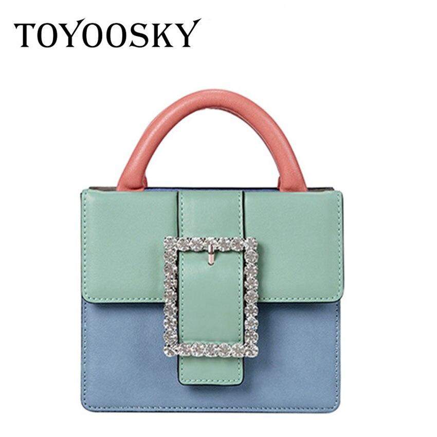 TOYOOSKY Luxury Leather Handbags Women Bags Designer Diamond Shoulder Bag Panelled Bags Wide Shoulder Strap Messenger Bag