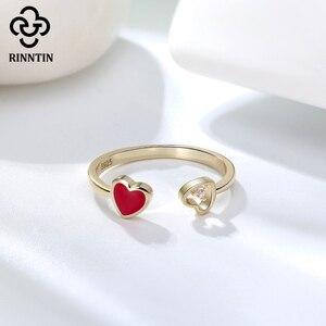 Image 3 - Rinntin 100% 925 スターリングシルバー、黒、赤ハートエナメルaaaaジルコン調整リングジュエリーアクセサリー女性のためのTEQR04