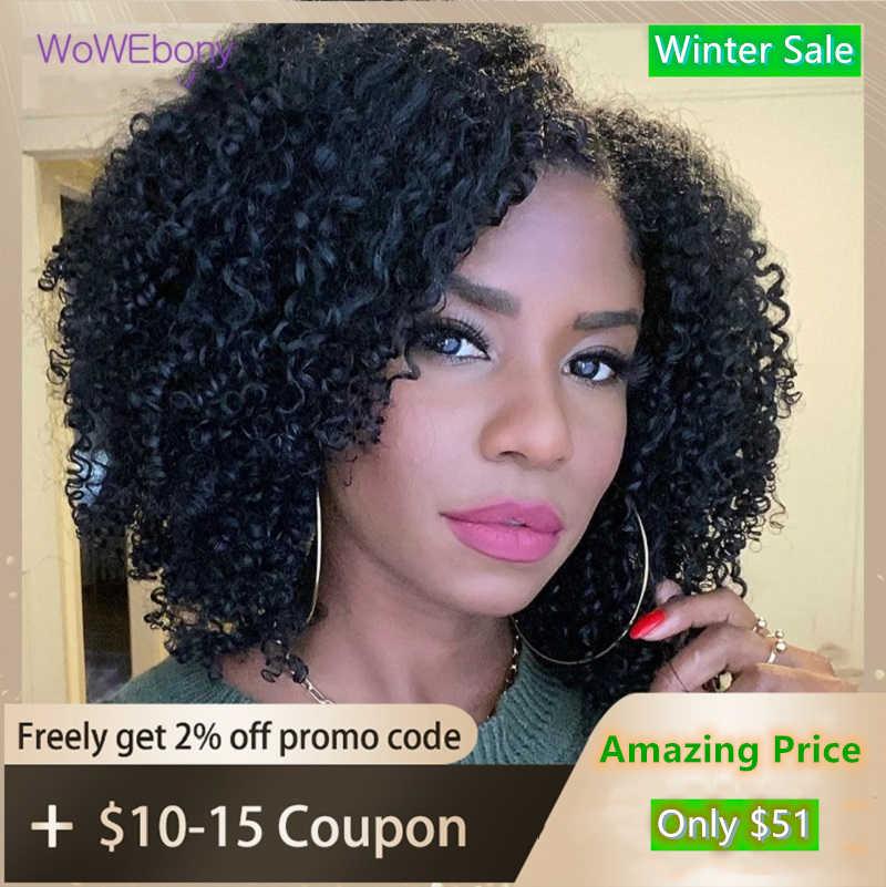 U parte peluca cabello humano rizado peluca 150 180 de densidad medio Pre arrancó Remy brasileño pelucas de cabello humano para las mujeres WoWEbony