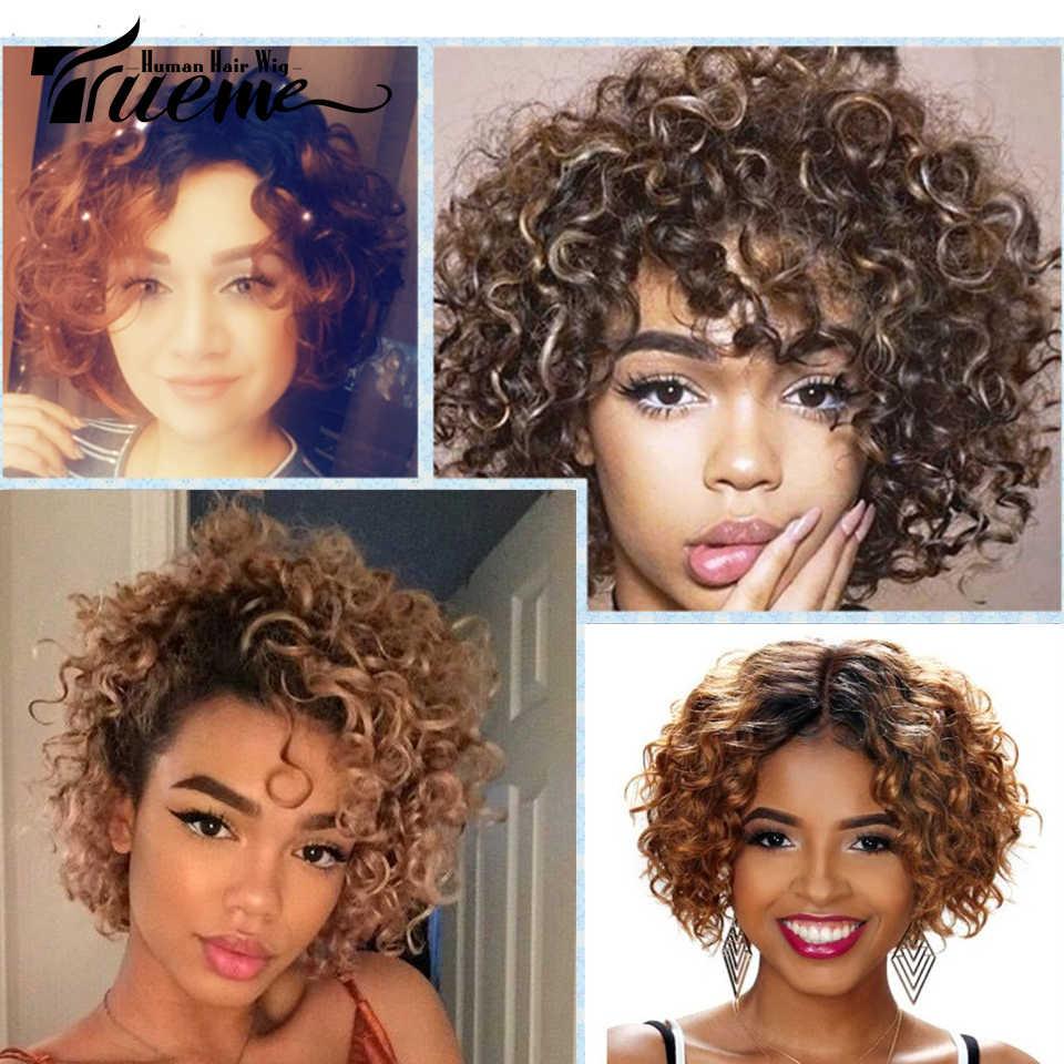 Trueme Curly Short Bob Human Hair Wigs For Black Women Ombre Pixie Cut Wig Brazilian Cheap Wigs For Black Women Short Full Wigs Full Machine Wigs Aliexpress