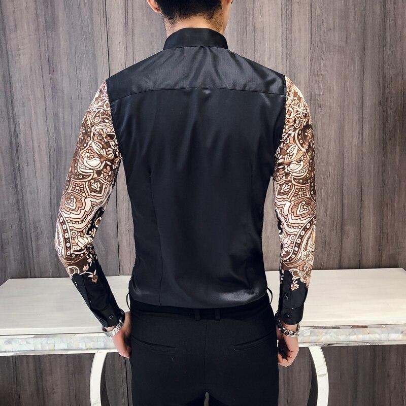 Luxury Royal Shirt Men's Casual Slim Long Sleeve Shirt Fashion Boutique Print Shirt Prom Party Banquet Formal Shirt